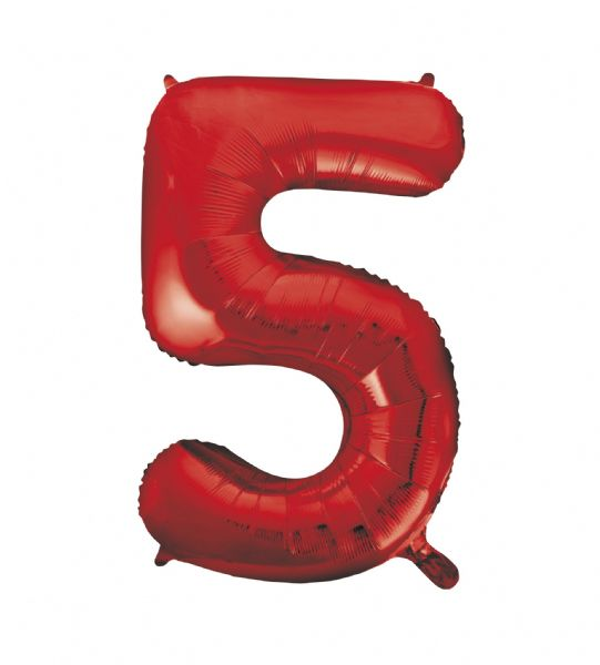 Red Number 5 Foil Balloon